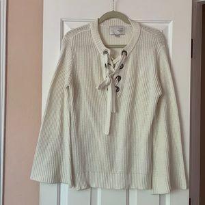 JOA Lace Up Cream Sweater